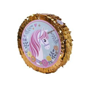 Pinyata Folyo Yuvarlak Gold Unicorn